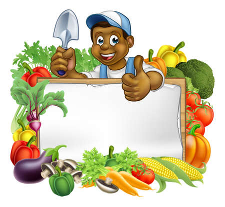 A cartoon black gardener holding a gardening tool and giving a thumbs up with a sign surrounded by vegetables and fruit garden produce