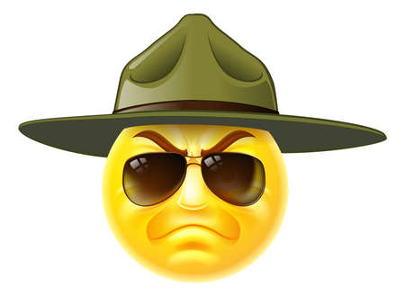 A cartoon emoji emoticon army boot camp drill sergeant wearing sunglasses Vectores