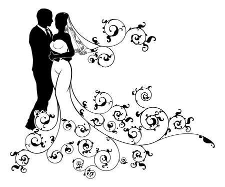 Una novia y el novio pareja de boda en silueta con un estampado vestido de novia blanco con vestido de un concepto abstracto floral patrón