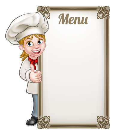 Cartoon female woman chef or baker character giving thumbs up with menu sign board Vectores