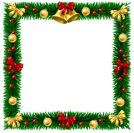Square Christmas tree wreath border frame decoration festive design background with bauble balls hanging from trees branches.