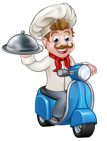 Cartoon chef or cook character riding a moped motorbike scooter delivering a silver cloche food meal plate platter tray