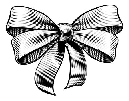 A bow ribbon gift in a vintage woodcut engraved etching style Ilustração