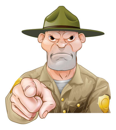 guarda del parque o bosque Ranger personaje de dibujos animados apuntando