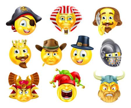 A set of history themed emoji emoticon icons