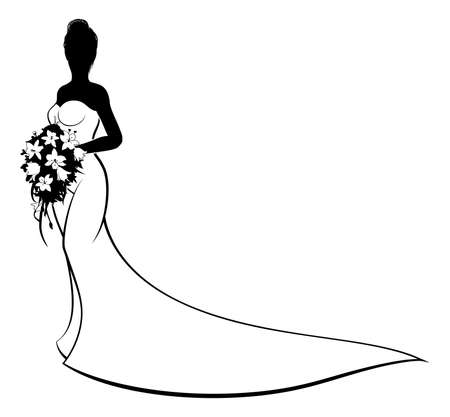 Bride silhouette with white bridal dress gown holding a floral wedding bouquet of flowers