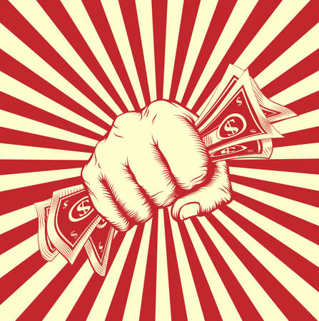 Fist holding money in a vintage revolution poster woodcut style