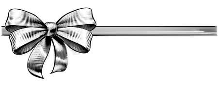 A ribbon gift bow in a vintage woodcut engraved etching style
