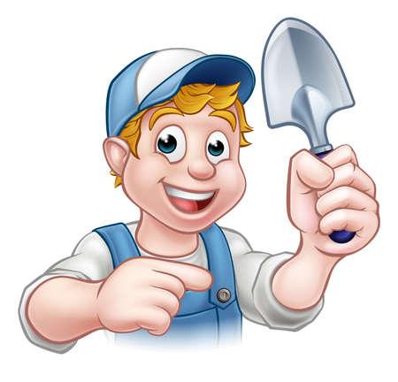 Een cartoon tuinman die een tuinieren hulpmiddel en het richten