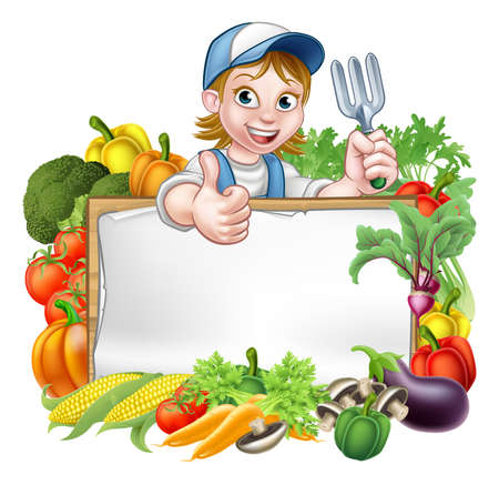 A cartoon woman gardener holding a gardening tool and giving a thumbs up with a sign surrounded by vegetables and fruit garden produce