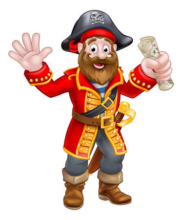 A cartoon pirate man holding a treasure map