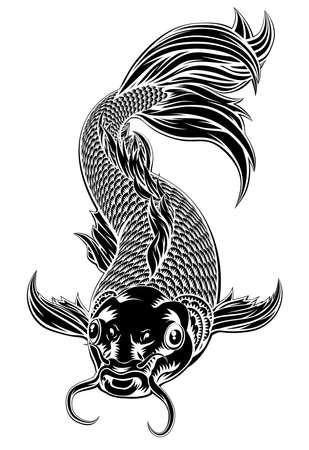 Un pez koi oriental o carpa tímida en un estilo de grabado en madera vintage