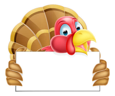 A Thanksgiving or Christmas cartoon turkey holding a sign