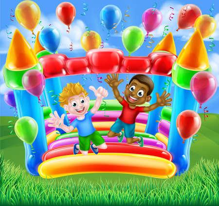 Due ragazzi che hanno divertimento saltare su un castello gonfiabile con palloncini e stelle filanti Archivio Fotografico - 68812151