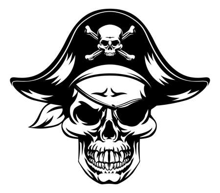 An illustration of a pirate Skull wearing a pirate captains hat and an eye patch with a skull and crossbones on it Ilustração