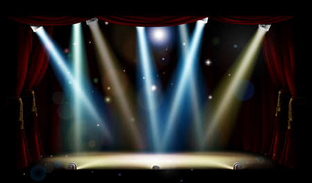 A theatre or theater stage and with footlights, spotlights and red curtains Illustration