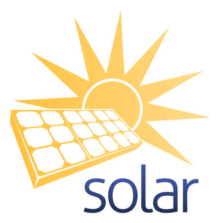 A solar power concept icon of solar panel photovoltaics cell with a sun