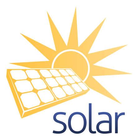 A solar power concept icon of solar panel photovoltaics cell with a sun
