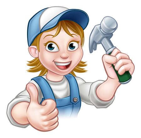 A female carpenter handyman woman cartoon character holding a hammer and giving thumbs up