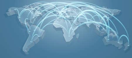 3 d ブルー フライト パスまたはルートと世界地図背景コンセプト  イラスト・ベクター素材