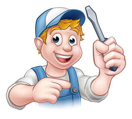 An electrician handyman cartoon character holding a screwdriver and pointing Stock Illustratie