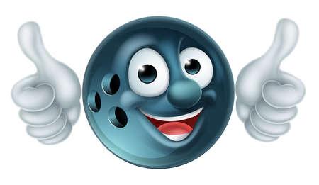 A cartoon bowling ball man mascot cartoon sports character giving a thumbs up