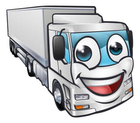 Ein Cartoon-LKW LKW-Transportlogistik Frachtindustrie Maskottchen Charakter Vektorgrafik