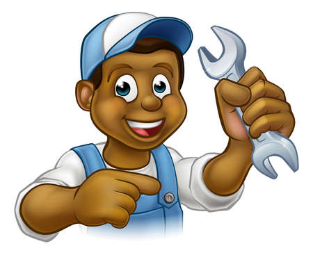 A plumber or mechanic handyman cartoon character holding a spanner and pointing  イラスト・ベクター素材