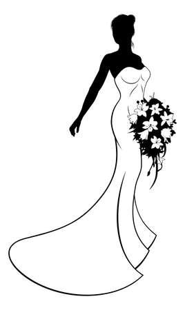 Bride Silhouette Hochzeit Illustration, Die Braut In Einem Weißen ...