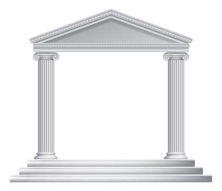 An ancient Roman or Greek temple with pillars or columns Illustration