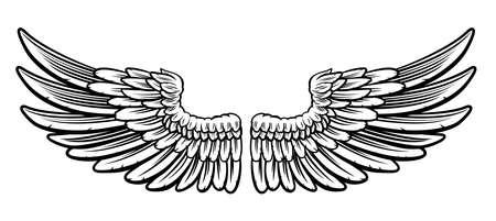 Een paar van de geëtste houtsnede vintage stijl vleugels