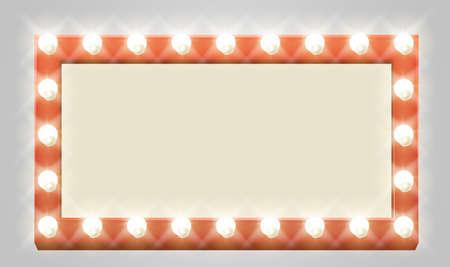 A light up retro theatre bulb border rectangle sign Çizim