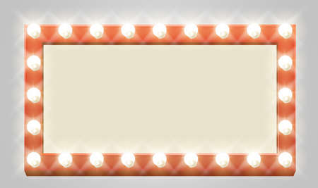 A light up retro theatre bulb border rectangle sign Illustration