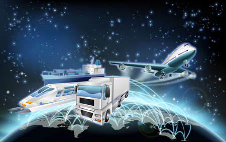 World globe flight paths transport logistics background concept with plane, truck and train