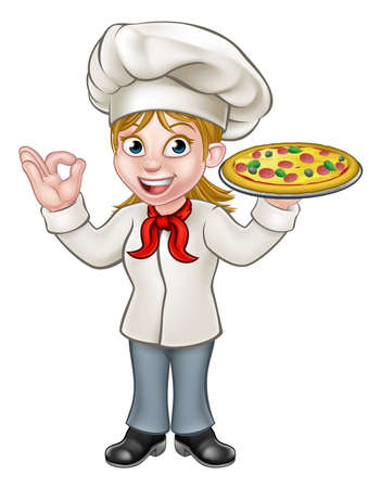 Cartoon woman chef or cook character holding a pizza and giving a perfect okay delicious gesture