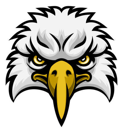 A cartoon eagle bird character sports mascot face front on Stock Illustratie
