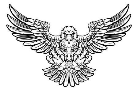 le style Woodcut aigle chauve américain mascotte élancées avec des griffes de griffes avant et ailes déployées Vecteurs