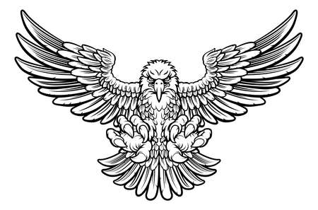 Woodcut style American bald eagle mascot swooping with talon claws forward and wings spread