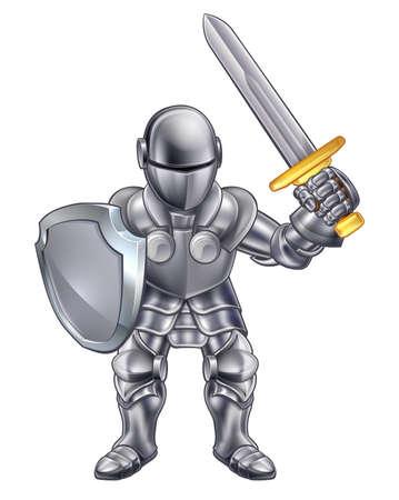 chevalier de la bande dessinée dans son armure tenant une épée et un bouclier