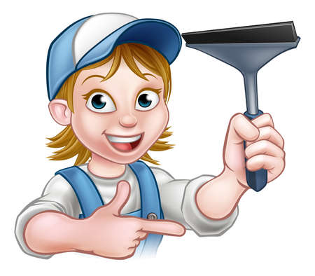 A handyman window cleaner cartoon character holding a squeegee and pointing