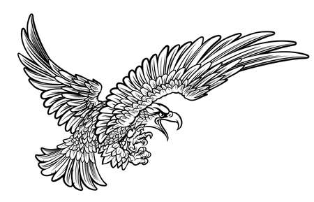 A bald or American eagle swooping from the side with claws or talons outstretched