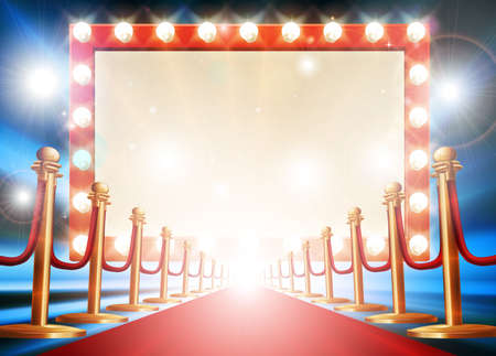 Red carpet background with theatre or cinema style light bulb sign Imagens - 68818453