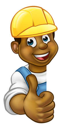 Cartoon black handyman, builder, mechanic, carpenter, electrician or plumber character in hard hat giving thumbs up