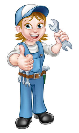 A plumber or mechanic handyman cartoon character holding a spanner and giving a thumbs up