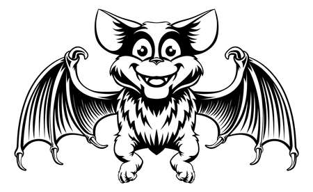 A cute cartoon Halloween bat in a vintage woodcut black and white style