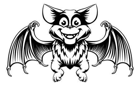 Un simpatico cartone animato pipistrello di Halloween in una xilografia stile vintage in bianco e nero