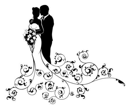 A bride and groom wedding couple in silhouette with a white bridal dress gown holding a floral bouquet of flowers and an abstract floral pattern concept