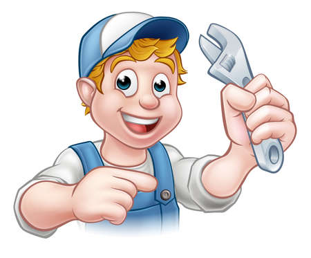 A plumber or mechanic handyman cartoon character holding a spanner and pointing 矢量图像