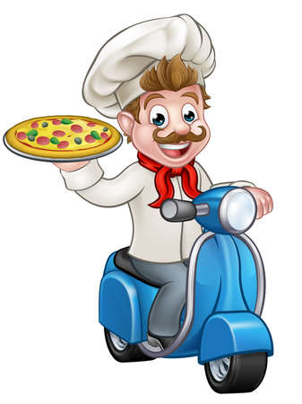 Cartoon chef or cook character riding a delivery moped motorbike scooter and holding a pizza