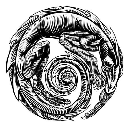 A dragon in circular shape, original illustration in a vinatge wood cut retro style